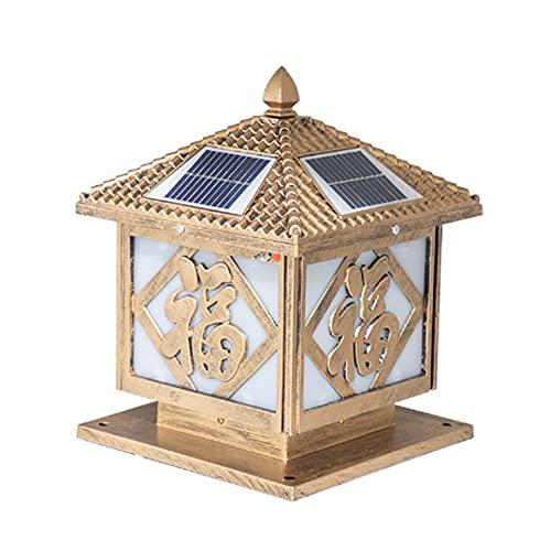 Luces solares Led Paisaje Lámpara de pared Poste Lámparas de jardín Iluminación Super brillante Luz exterior Villa Stigma 4x4 Columna Faro Acrílico, Aluminio 4400mAh (Tamaño: H38 * D30cm) Postes de ma