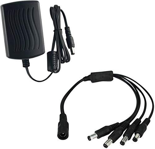 Annke DC 12V 2A EU enchufe fuente de alimentación Unidad de fuente de alimentación para CCTV DVR / cámara + 1 a 4 divisor en Y DC 12V divisor de cable 1 enchufe a 4 enchufe para