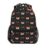 Mochila escolar casual com estampa de animal de raposa, leve, bolsa de ombro para viagem, faculdade, para mulheres e adolescentes