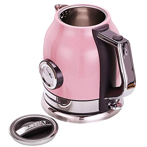 Wasserkocher 304 Edelstahl Elektrischer Wasserkessel Retro Design 1,8L 1500W Temperaturanzeige Leise Heizung Energiesparend Pink Rosa