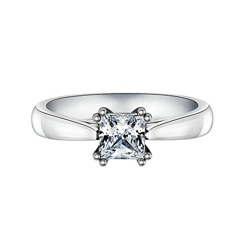 Adokiss Anillo de plata 925 para mujer, alianzas de compromiso para mujer, anillo de compromiso con 4 garras de corte princesa, circonita blanca, talla 55 (17,5)