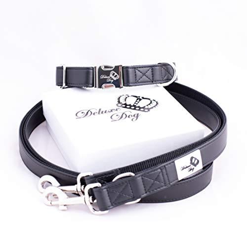 Deluxe Dog Halsband Set (S/M, schwarz)