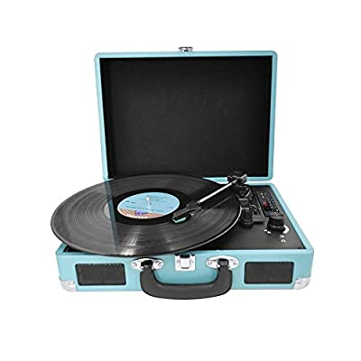 PRIXTON VC400 - Vintage Vinyl Turntable, Vinyl Player and Music Player via Bluetooth and USB, 2 Built-in Speakers, Suitcase Design, Colour Blue