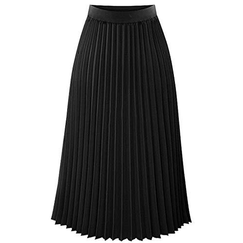 Anmain Midi Maxi Gonne Donna, Casual Vita Alta Gonnella Elegante Lunghe Gonna Tinta Unita Moda Skirt Vintage Danza Cocktail Gonna Pieghe Elastica Gonne Cerimonia Skirt