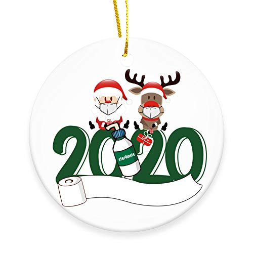 XINLANYU 2020 Christmas Ornament -Santa and Reindeer Wearing Masks,Christmas Party Decoration Christmas Tree Decorating Set-2.9 inch Ceramic