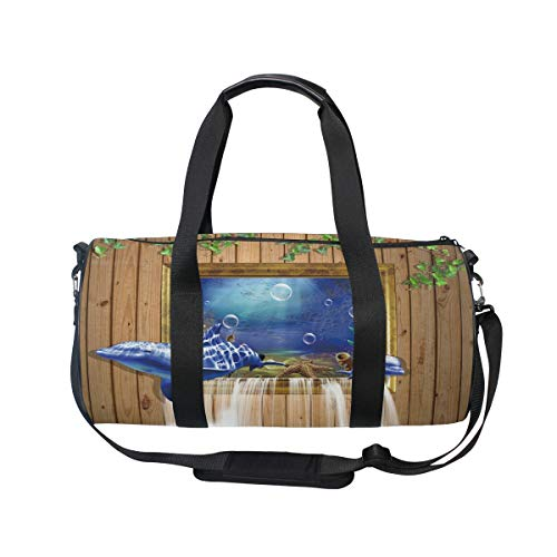 Emoya Ocean Shark Dolphin Wood Ivy Gym Bag Sports Duffel for Men and Women