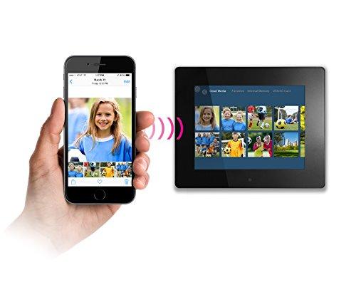 "Aluratek 7"" WiFi Digital Photo Frame with Touchscreen IPS Display, 8GB Built-in Memory, Clock, Calendar, Alarm, Weather (AWDMPF107F)"