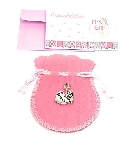 Breloque bébé fille 2020 avec sac cadeau rose et carte cadeau