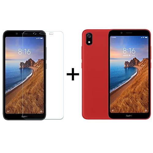 TBOC Pack: Funda de Gel TPU Roja + Protector Pantalla Vidrio Templado para Xiaomi Redmi 7A [5.45 Pulgadas]. Funda Silicona Ultrafina Flexible. Resistente Golpes Caídas Arañazos.
