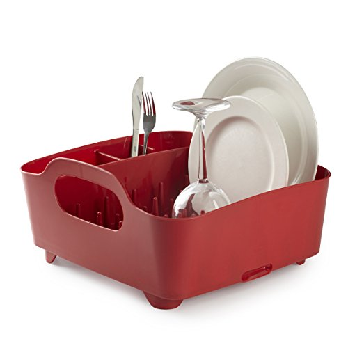 Umbra Tub Dish Drying Rack – Lightweight Self-Draining Dish Rack for Kitchen Sink and Counter at Home, RV or Motorhome, Red