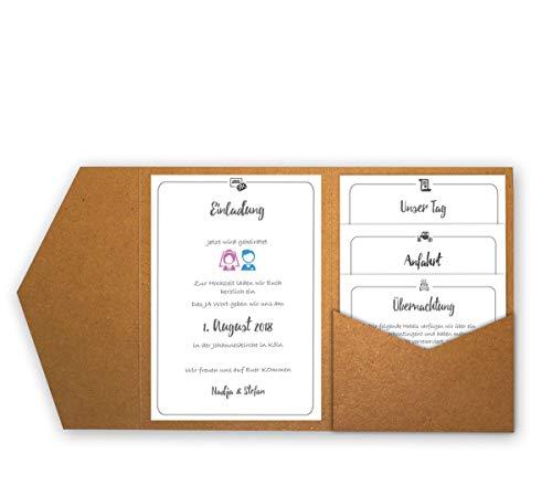 Faltkarten.com Pocketfold Karten B6 25 Stück - Pocket-Tasche aus Kraftpapier Kraft Braun - Einladung Hochzeit
