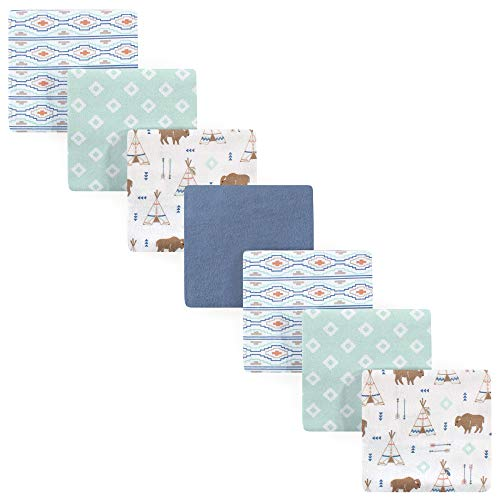 Hudson Baby Unisex Baby Cotton Flannel Receiving Blankets Bundle, Teepee, One Size