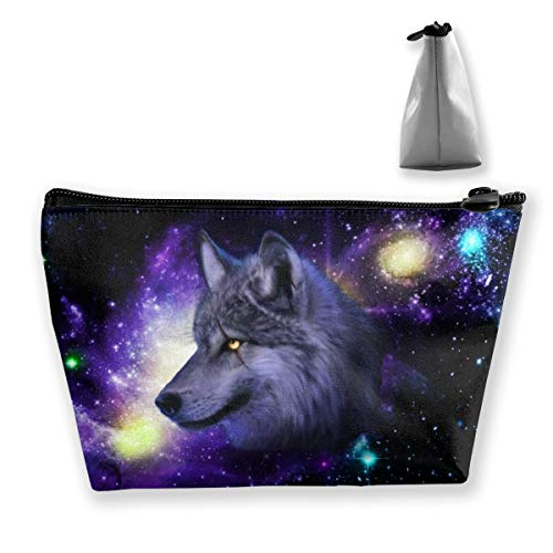 Galaxy Wolf 3D Printing Cosmetic Bag, Multifuncition Pencil Case Waterproof Makeup Pouch Travel Toiletry Accessories Organizer with Zipper for Women Purse