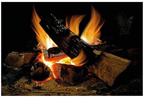 lepni.me Wandaufkleber Kamin mit brennendem Feuer Wandtattoo Dekoration Brennholz Flammen fotorealistische Kunst Poster (Groß Brennendes Feuer)