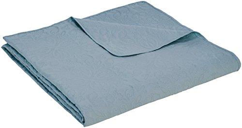 Amazon Basics - Bettüberwurf mit Prägemuster, extra-groß, Graublau, Blumen, 170 x 210 cm