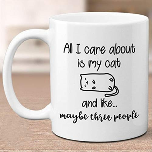 All I Care About is My Cat - Taza divertida para gato,...