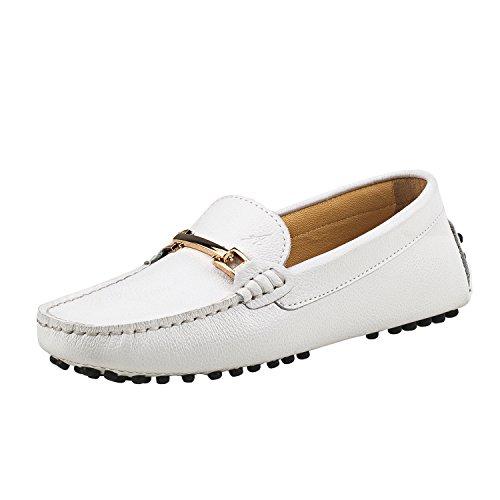 Shenduo Zapatos de cuero - Mocasines cómodos con cordones de moda para mujer D7067