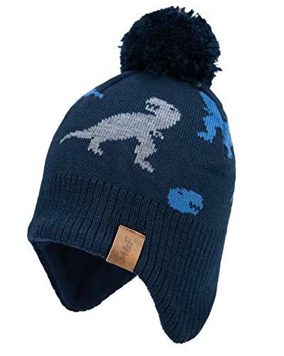 Foruhoo Jungen Wintermütze Beanie Hut, Mädchen Strickmütze Mütze mit Bommel (53, Marineblau Dinosa)