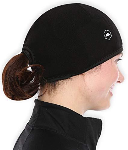 Helmet Liner Skull Cap Running Beanie Hat with Ear Covers. Ultimate Thermal Retention & Moisture Wicking. Fits Under Helmets Black