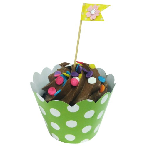 AllyDrew Standard Size Polka Dots Cupcake Wrappers (Set of 20), Green