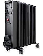 Black + Decker – oljeradiator 2000 W och 11 element på 140 mm justerbar termostat och två effektnivåer Automatisk avstängning vid överhettning svart