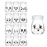 12 Vasos para Yogurtera 100ml Vasos de Repuesto Tarros Cristal Pequeños con Tapa PE para Preparar Yogures, Postres y Natillas