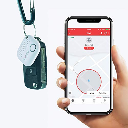 SpotyPal The Original - Bluetooth Tracker, Item, Key, Phone Finder, Panic Button, Separation Alert, Replaceable Battery - White