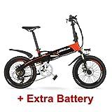 qx Scooter Vélo de Montagne Électrique G660 48V10Ah Batterie Cachée Haute Puissance 500W 20 'Assistance À La Pédale Vélo de Montagne Électrique Pliant, Cadre En Alliage D'Aluminium, Fourche À Suspens