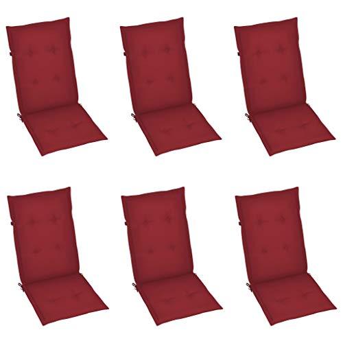 vidaXL 6X Gartenstuhl Auflage für Hochlehner Kissen Sitzkissen Stuhlkissen Polster Stuhlauflage Sitzauflagen Sitzpolster Weinrot 120x50x4cm
