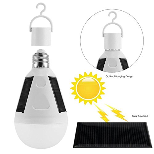 Gaddrt LED Solar Glühbirne 7W E27 86-265V Zelt Camping Angeln Solar Lampe Wiederaufladbare