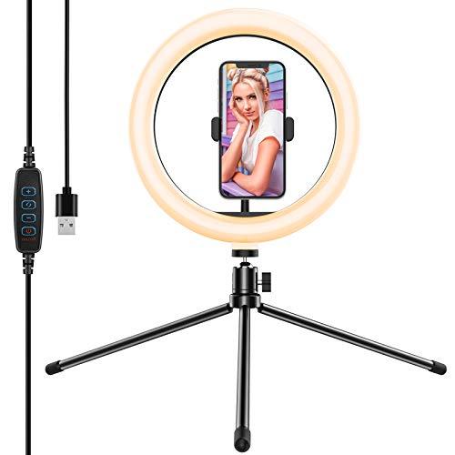 Yoozon 10' Luz de Anillo LED fotográfica de Escritorio, 3 Color 10 Brillo, Trípode con Soporte Giratorio de teléfono para Transmisión en Vivo, Selfie, Maquillaje, Videoconferencia, Youtube, TikTok