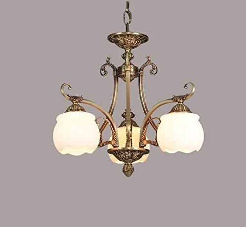 Woonkamer plafondlamp ijzer marmer imitatie koper hanglamp LED woonkamer slaapkamer woonkamer restaurant lamp E27 lamp 40 Watt vintage retro verlichting eenvoudig en praktisch 3 luiers.