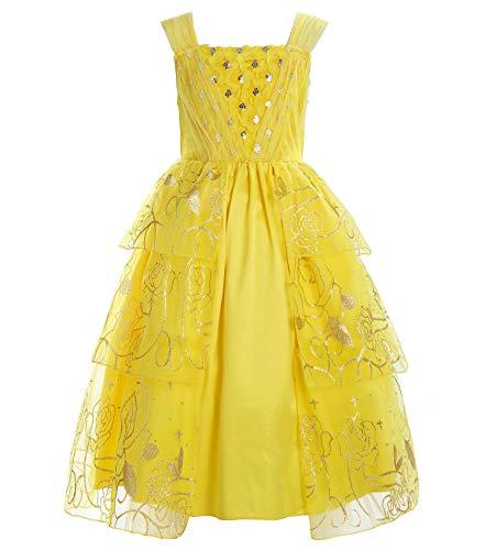 ReliBeauty Girls Dress Belle Cosplay Costume Lustrino Rosa Ragazza Vestiti Abito Principessa Disney Costumi Vestire, Giallo, 10 Anni