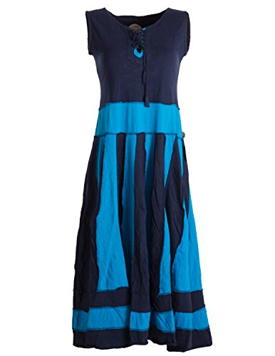 Vishes Langes Sommerkleid aus Baumwolle ohne Ärmel Blau 42/44