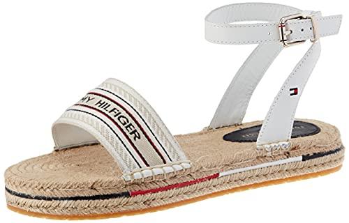 Tommy Hilfiger TH Artisanal Flatform Sandal, Bassi Donna, Bianco, 41 EU