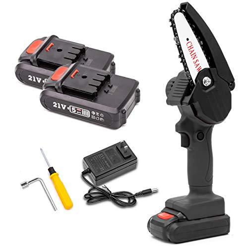 HENGX Motosierra Eléctrica Inalámbrica Mini,Motosierra Mano Recargable 4 Pulgadas,Sierra Corte Madera con Batería Litio para Una Mano,Black-Twobatteries
