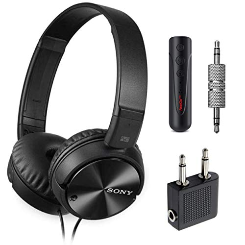 Sony Wired Noise Cancelling Stereo Headphones (Black) + Airline Headphone Adapter + NeeGo...