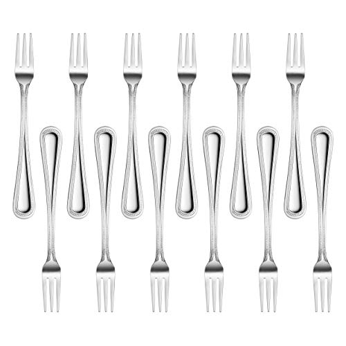 New Star Foodservice 58505 Bead Pattern, 18/0 Stainless Steel, Oyster Fork, 6-Inch, Set of 12