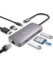 HooToo Hub USB C 8 in 1 Adattatore Type C con HDMI 4K, Porte USB 3.0, Porta Ethernet da 1 Gbps, Lettori di schede SD/TF e Porta di Ricarica PD da 100W per MacBook/PRO/Air e per Laptop Type C e Altri