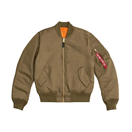 Alpha Industries Men's Slim-European Fit MA-1 Flight Jacket (L, Vintage Olive)