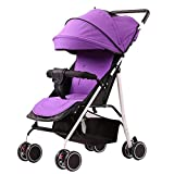 Portable Baby Stroller Can Sit Reclining Umbrella Folding Simple Four-Wheel Shock Absorber Baby Push Small Stroller Purple
