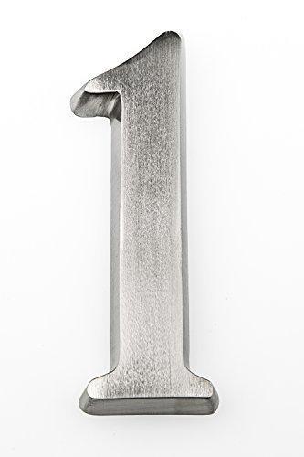 HUBER número de casa de aluminio 1 10 cm I números de casa para puerta - placas de número de casa en aluminio noble diseño 3D, anodizado