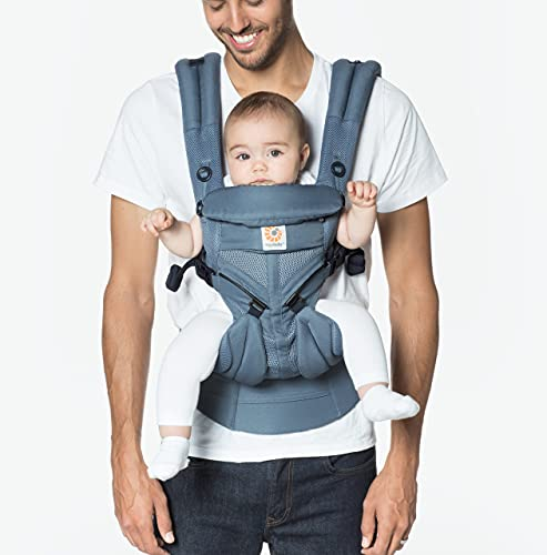 Ergobaby Omni 360 All-Position Baby Carrier for Newborn to Toddler with Lumbar Support & Cool Air Mesh (7-45 Lb), Oxford Blue