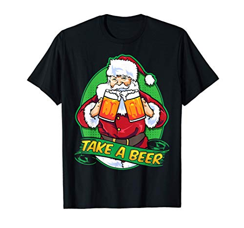 Santa Clause Beer Lover Christmas Beer Mugs Maglietta