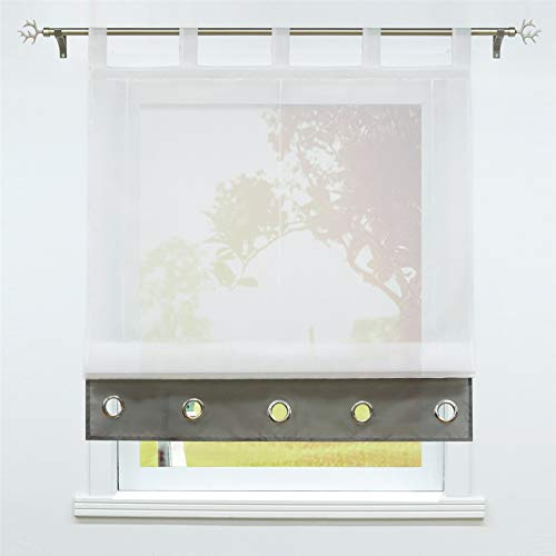 SCHOAL Raffrollo mit Schlaufen Transparente Raffgardine Modern Schlaufenrollo Weiß Gardinen Voile 1 Stück BxH 140x155cm Grau