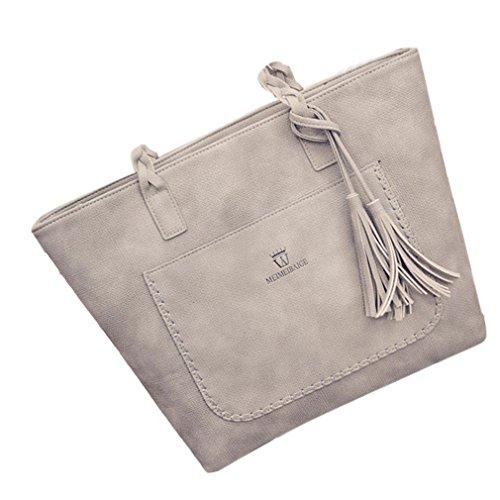 Donne Borsa a tracolla in pelle di nappa donne Borsetta donna borsa a tracolla grande Tote Ladies borsa per le donne grigio sacchetto