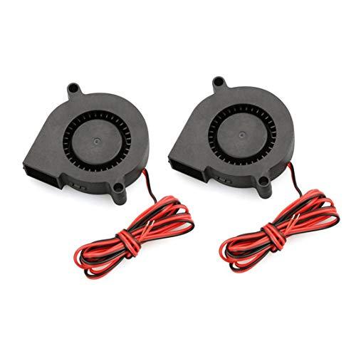 zhouweiwei 2 PCS Mini Cooling Fan 50mmx50mmx15mm 3D Printer Parts 5015 Radial Turbo Blower Fan DC 12V Cooling Fan For 3D Printer