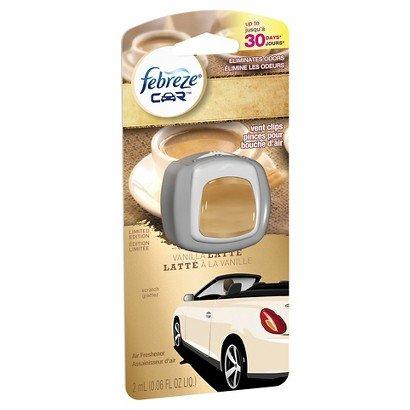 ONLY 1 IN PACK Febreze Car Vent Clip Air Freshener, Vanilla Latte, 0.06 Fl. Oz.