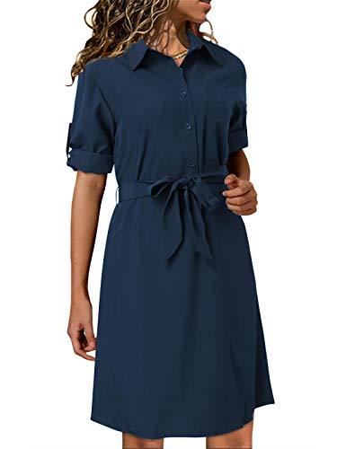 kenoce dam V-ringad blusklänning skjortklänning klänning långärmad 3/4-ärm Wickeloptik med bälte