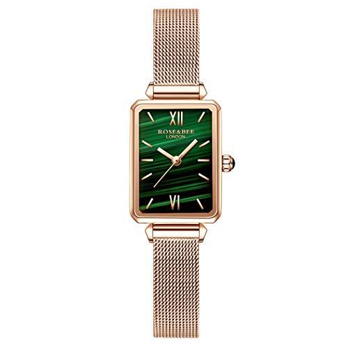 Mujer Relojes de Pulsera, L'ananas Retro Malaquita Diales rectangulares Cinturón de Cuero/Meshbelt Relojes Women Wristwatches (Mesh-Oro Rosa)